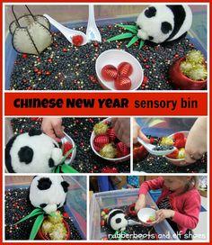 Chinese New Year sensory bin.