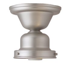 """Flush Mount Fixture, 4"""" Fitter, Satin Nickel k9700-53. In satin nickel. $28. Don't know if it comes in other finishes. 60 watt max. Don't know what it is made of."""