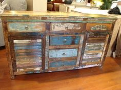 india reclaimed wood painted shutter buffet cabinet plasma tv stand 2