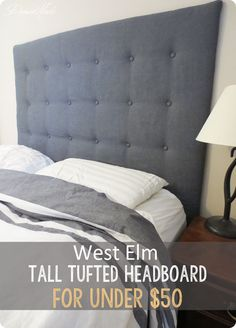 Here's a great tutorial for making a tall tufted headboard for less than $50. The tufting process is simplified by using pegboard!