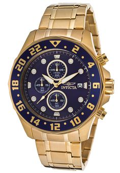 @11Main Men's Specialty Chronograph 18K Gold Plated Steel Blue Dial: this dauntless invicta makes a bold statement with its int...