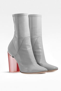 1c82347ada8 10 Steps To Autumn. Grey patent calfskin ankle boot and pink translucent  heel ...