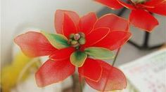 New Sheer Nylon Flowers | DIY Instruction Make Nylon Flower - Poinsettia for Christmas, Holiday ...
