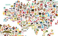 Cute Illustrated Art Multi Cultural World Map Wall by EmaJane
