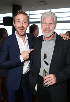 Ryan Gosling Ron Perlman at an event for 'Drive' 2011 Shia Labeouf, Logan Lerman, Amanda Seyfried, Drive 2011, Ryan Thomas, Ron Perlman, Star Wars, Celebrity Stars, Vintage Classics