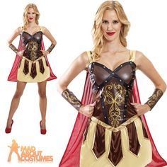 Adult Warrior Princess Costume Ladies Roman Gladiator Spartan Fancy Dress Outfit Horse Fancy Dress, Adult Fancy Dress, Fancy Dress Outfits, Dress Up, Warrior Princess Costume, School Dresses, Mascot Costumes, Roman, Wonder Woman