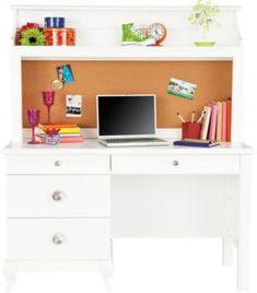 Luxury Kids White Desk with Hutch