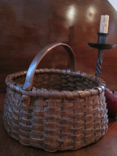 1800s Exceptional New England Carved Handled Woven Basket in Old Red Stain Sold North Bayshore Antiques