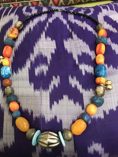 Beautiful colorfull necklace happy necklace with old silver big bead and plastic fine beads for a women who love life style fashion combine cultures and colors love my life style
