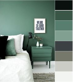 Graues und grünes Schlafzimmer Gray and green bedroom decor room room, Green Rooms, Bedroom Green, Home Bedroom, Bedroom Decor, Ikea Bedroom, Bedroom Furniture, Paint Colors For Home, House Colors, Bedroom Color Schemes