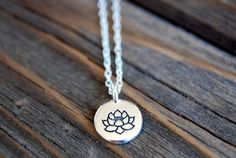 Silver Lotus Necklace  Pewter Lotus Flower Charm  by BoulderBeads