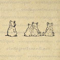 Cubs Tattoo, Sketches Of Love, Bear Cubs, Bears, Bear Graphic, Clip Art, Bear Print, Vintage Wall Art, Movies