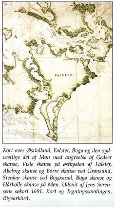 Udsnit af Jens Sørensens søkort fra 1691. Af skanser ses bl.a. Borre skanse ved Grønsund, Hårbølle skanse på Møn, Bogø skanse og på Falstersiden Stenkar skanse ved Bogøsund (det nuværende Sortsø).