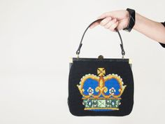 50s-60s handbag with needlepoint crown - from my sold archives at denisebrain.com