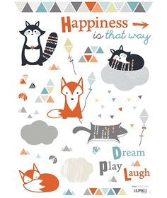 Stickers maki & kitsune by Sophie Cordier x 42 cm) Orange Kids Rooms, Woodland Bedroom, Bedroom Toys, Baby Posters, Tangle Patterns, Naive Art, Happy Animals, Baby Boy Rooms, Baby Kind