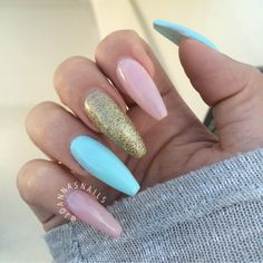 Blue and pink and gold coffin nails