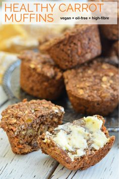 Healthy Carrot Muffins. Full of wholesome ingredients like bran, oats, wholegrain flour, carrots & sultanas plus as an added bonus they are completely oil-free. Perfect for breakfast, snacks or lunch boxes! #carrotmuffins #carrot #breakfast #healthybreakfast #vegan #oilfree #dairyfree