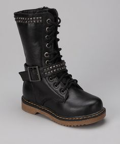 Take a look at this Black Studded Moto Boot by COCO Jumbo on #zulily today!
