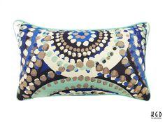 one 12x20 Blue Boho Circles Pillow Cover / by kimgatesdesigns