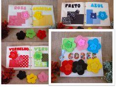 Livro de feltro tema flores em feltro e tecido <br> <br>Formato 20x20 com capa + 6 páginas (verde, rosa, azul, vermelho, preto e amarelo.