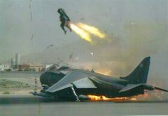 A pilot in an RAF Harrier GR9A ejects just in time, Kandahar Air Base, Afghanistan