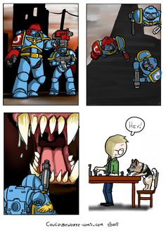 Kill that vile Xeno, for the emperor! Warhammer 40k comic, vallhund space marine