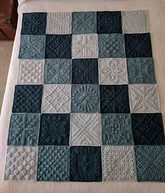 Crochet Squares 91573 Ravelry: ccdoug's Shades of Teal Blanket Crochet Square Blanket, Patchwork Blanket, Crochet Square Patterns, Crochet Blocks, Crochet Blanket Patterns, Baby Blanket Crochet, Knitting Patterns, Afghan Blanket, Free Knitting