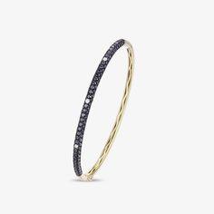 Luvente Black Diamond 14K Yellow Gold Bangle