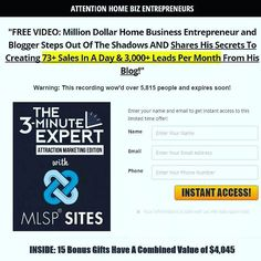"Click the link in my bio to get instant ACCESS NOW... This training will be taken down tomorrow... ""FREE VIDEO: Million Dollar Home Business Entrepreneur and l Steps Out Of The Shadows AND Shares His Secrets To Creating 73 Sales In A Day & 3000 Leads Per Month From His Blog!"" Warning: This recording wow'd over 5815 people and expires soon!  #TWITTER"