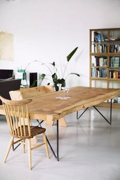 Natural wood Slab Dining Rooms is part of Wooden dining tables - Welcome to Office Furniture, in this moment I'm going to teach you about Natural wood Slab Dining Rooms Wooden Dining Tables, Wood Table, Dining Room Table, Dining Rooms, Rustic Table, Hairpin Dining Table, Steel Table, Outdoor Dining, Dining Furniture