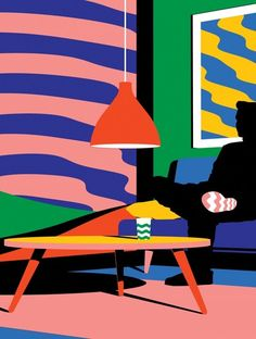 From Tokyo-based Australian illustrator/artist, Karan Singh. Love his work. Great styling and love the way he's achieved depth of field using flat blocks of colour.