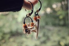 We were wild - rustic, bone & antler earrings, stretched lobes, large gauge by Osteal on Etsy