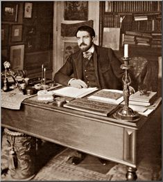 Reynaldo Hahn at his desk, 1902. For wonderful photographs of the people in his life, go to http://reynaldo-hahn.net/images/photosmonde/photosmonde/ (Musica, coll. D.H.M ) DR (musimem.com)