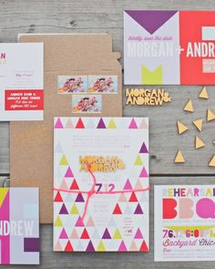 Obsessed with this colorful #stationery by Pitbulls and Posies