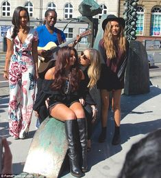 On the road: Little Mix are currently on a nationwide radio tour to promote their new single Black Magic