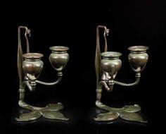 Tiffany Studios, Art Nouveau Candle Sticks