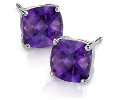 Blue Nile Amethyst Cushion Earrings in Sterling Silver Blue Nile Jewelry, Purple Jewelry, Purple Earrings, Amethyst Jewelry, Amethyst Earrings, I Love Jewelry, Sterling Silver Earrings Studs, Stud Earrings, Jewelry Box