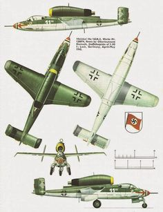 Heinkel He 162 Volksjäger single-engine emergency wooden fighter jet, the fastest aircraft of WWII.