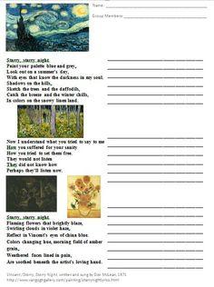 Art Room 104: VanGogh Unit for 5th Grade: Starry, Starry Night Lyrics Worksheet