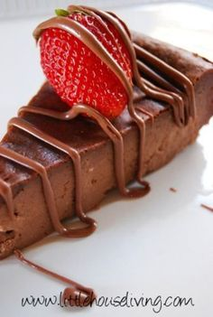 Crustless Chocolate Cheesecake. Rich, chocolaty and thick! No crust so perfect for those that are gluten free!