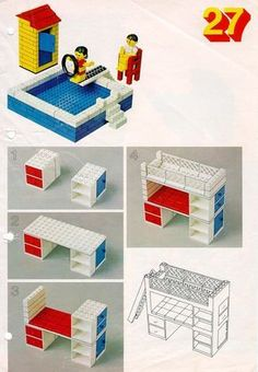 LEGO 222 Building Ideas Book instructions displayed page by page to help you build this amazing LEGO Books set Lego Duplo, Lego Technic, Lego Design, Manual Lego, Casa Lego, Lego Furniture, Minecraft Furniture, Lego Building, Building Ideas