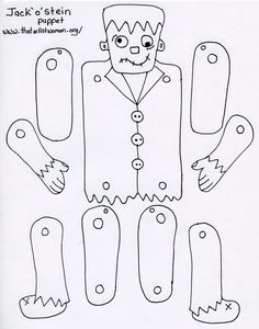 Frankenstein's monster puppet pattern for use with kids Theme Halloween, Halloween Arts And Crafts, Holidays Halloween, Halloween Decorations, Halloween Party, Moldes Halloween, Adornos Halloween, Halloween Coloring, Paper Dolls