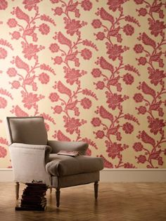 Soho Square wallpaper - Bronze Red - Little Greene - Luxury Wallpaper, Print Wallpaper, Little Greene Paint Company, Trailing Flowers, Prestigious Textiles, Diy Painting, Decoration, Soho, Accent Chairs