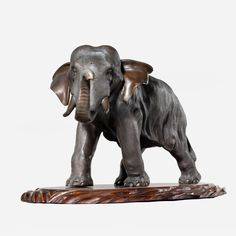 GENRYUSAI SEIYA BRONZE ELEPHANT Just Japanese Antiques is located in Chichester, England. Meiji period.
