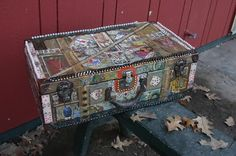 recycled altered egyptian tarot suitcase by C Reinke, extra large