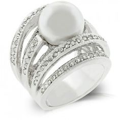 White Gold Rhodium Bonded Right-hand Fashion Ring with Shell Pearl and Round Cut Clear CZ in a Channel Setting in Silvertone - A quality fashion and costume piece from Distinct Fashion Jewellery
