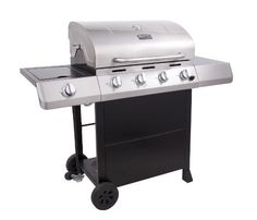 """Char-Broil Classic 480 40000 BTU 4-Burner Gas Grill with Side Burner (047362343628) Char-Broil four burner, 40,000 BTU gas grill with 10,000 BTU lidded side burner 480 square inches of primary cooking on porcelain-coated cast iron grates plus 180 square inches of secondary cooking on porcelain-coated swing away Large metal side shelves offer lots of workspace and two 7"""" wheels offer easy portability Stainless steel lid, handle, control panel, and fascia's add style and durability to this ..."""