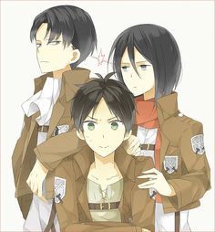 Attack on Titan Levi, Mikasa, Eren. I'll betcha eren is feeling cornered right now