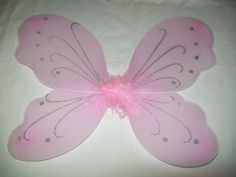 Pink Butterfly Angel Fairy  Wings, Elastic Arm Straps Glitter & Feathers