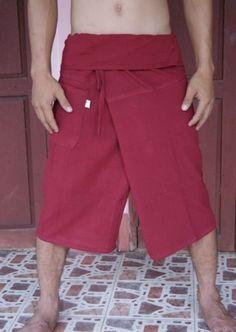 Cotton Thai Fisherman Trousers Pants Yoga Massage Samurai Kung Fu Tai Chi Martial Arts Capoeira, Beach Surfer Maternity Wear